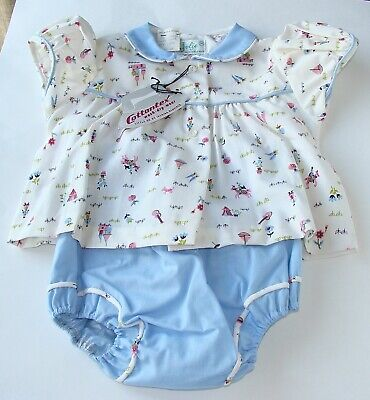 Vintage Jolie of New Orleans Baby Novelty Dress Top + Rubber Lined Bloomers NWT