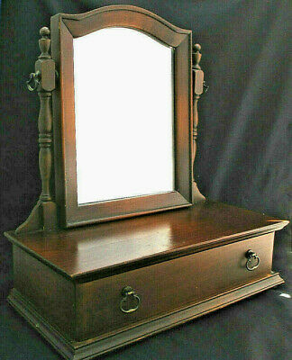 Vintage Swivel Mirror & Single Drawer Dresser Chest Wooden Jewelry Makeup 16""
