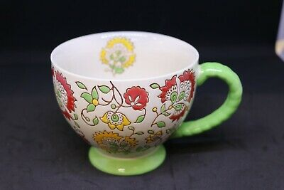 Dutch Wax Footed Coffee Cup Mug Hand-painted Red Gold Green Embossed Floral