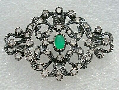 Fine antique French Silver brooch with Rose cut Diamonds & Emerald