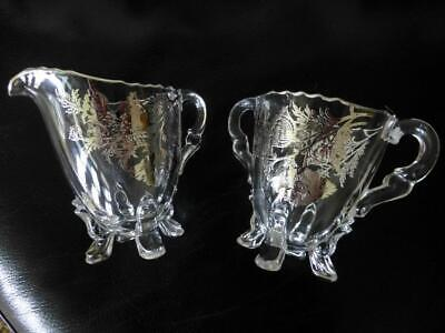 Elegant Vintage Floral Sterling Silver Overlay Fancy Feet Handle Sugar & Creamer