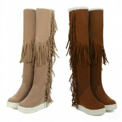 Women Girls Tassels Fringe Knee High Boots Winter Hidden Wedge Heel Winter Boots