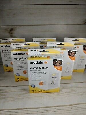 Lot of 6 New Medela Pump and Save Breastmilk Bags 20ct plus 12 Adapters