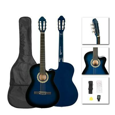 """New Blue 38"""" Acoustic Cutaway Guitar with Case Strap Pick Tuner for Beginner"""