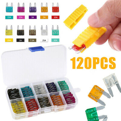 120x Mini Blade Fuse Assortment Set Auto Car Fuses Assorted Kit 2-35A + Puller