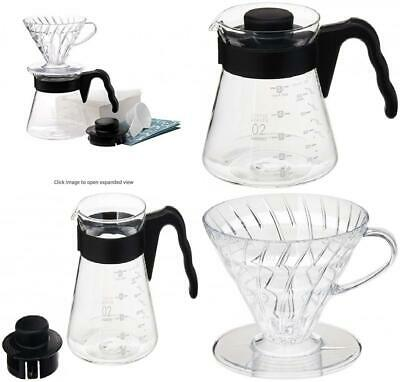 Hario V60 Size 02 Pour Over Starter Set with Dripper, Glass Server, Black