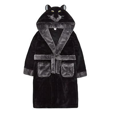 Childrens / Boys Novelty Panther Hood Plush Fleece Dressing Gown ~ 7-13 Years