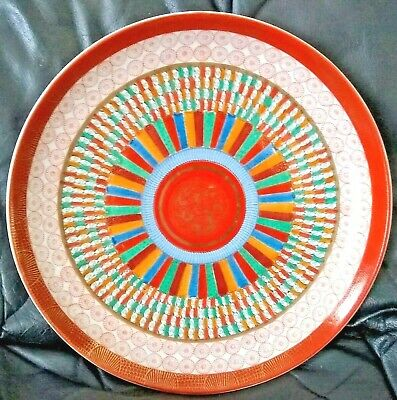 Antique Japanese Meiji Kutani Ware 1000 Faces Porcelain Charger Plate 12 inches