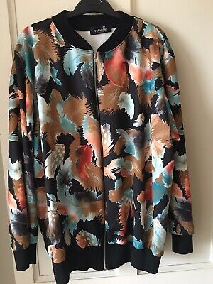 NOUVELLE Collection -Silky floral, zipped, bomber jacket SIZE 22 / 24 BNWOTS
