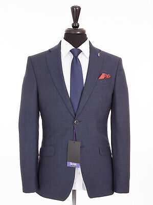 Men's Scott By the Label Blue Hounds tooth Check Tailored Fit Suit 46R W40 L31