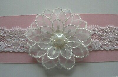 White Lace Newborn/Baby/Toddler/Girl Headband/ Layered Lace Flower With Pearl