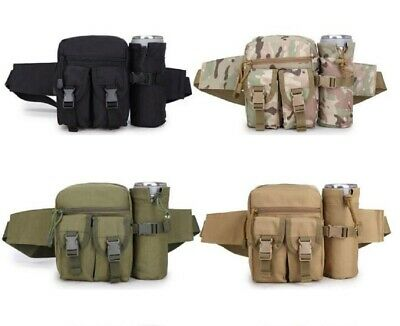 Outdoor Utility Pouch Tactical Molle Waist Water Bottle Hiking Belt Kettle Bags