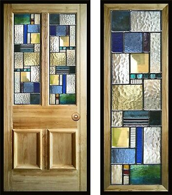 Modern Contemporary Stained Glass Door Panels, handmade to order