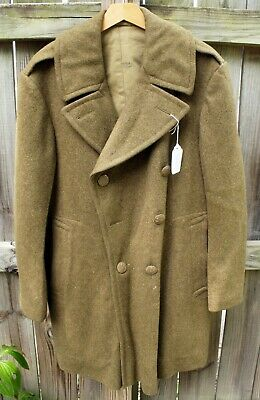 Vintage WWII Era US Army Heavy 38 R Wool Overcoat Coat Dated 1945