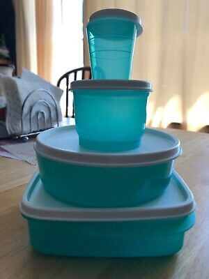 Tupperware teal lunch set