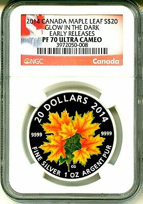 2014 Canada $20 Maple Leaf Majestic Maple Leaves Glow In The Dark ER NGC PF70 UC
