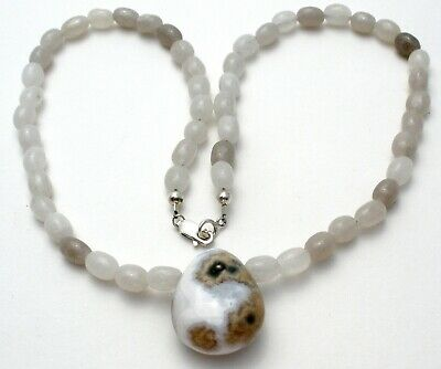 "White & Gray Moss Agate Bead Necklace Sterling Silver 17"" Long 925 Beaded"