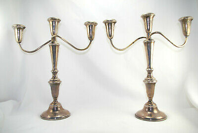 Vintage Empire Sterling Silver Weighted Three Candle Candelabra Candle Holder