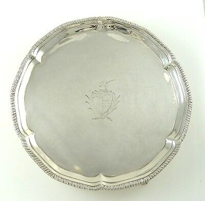 Georgian Sterling Silver Card Tray Salver Or Drink With Armorial /  London 1774