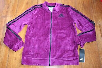 Nwt Girls Adidas Sz Xl 16 Track Jacket Velour