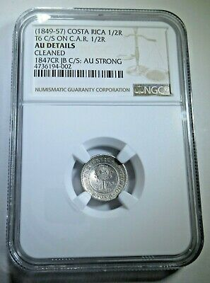 NGC AU Details Costa Rica Lion Countermark Silver 1/2 Reales Counterstamp Coin