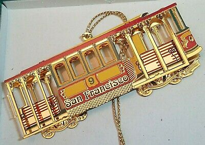 San Francisco Souvenir City Ornament Cable Car GEnuine 24K Gold Finish Brass