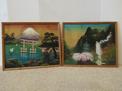 2 Antique Asian Framed Hand Paintings On Silk Behind Glass Bamboo Type Frame