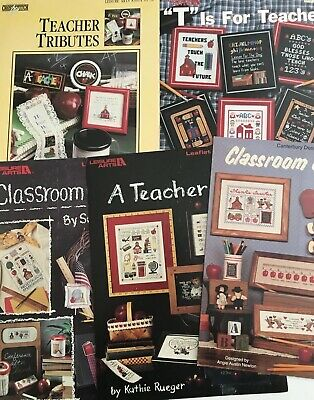 Back To School? Cross Stitch The Teacher A Gift From These 5 Leaflets W/Samplers