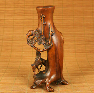 Rare chinese old boxwood elder on horse club flower vase home decoration