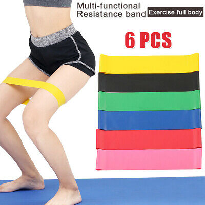 6x GYM Home Resistance Yoga Training Band Loop Power Fitness Exercise Workout OZ