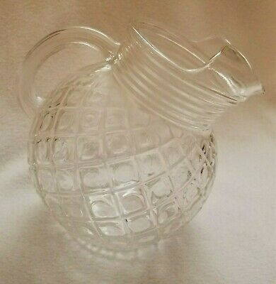 Anchor Hocking Depression Glass Clear Waterford Waffle 42oz Ball Pitcher Ice Lip