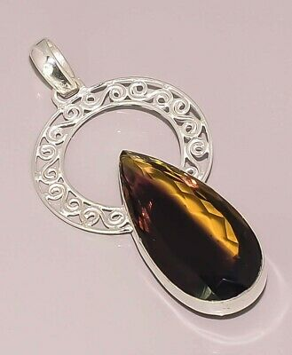 Faceted Ametrine Quartz Handcrafted Jewelry 925 Sterling Silver Plated Pendant