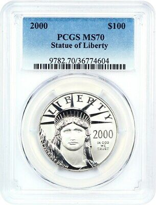 2000 Platinum Eagle $100 PCGS MS70 - Statue Liberty 1 oz