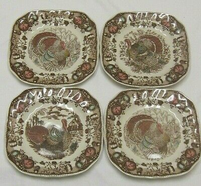 "(4) JOHNSON BROTHERS HIS MAJESTY TURKEY 7 1/2"" SQUARE SALAD PLATES -Mint! New?"