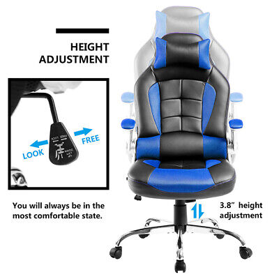 Office Chair Executive Racing Gaming Swivel Pu Leather Sport Computer Desk Uk