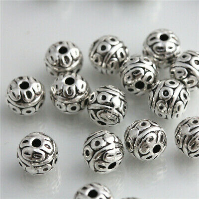 25Pcs Tibetan Silver Beads Spacer Bracelet Charms Jewelry Findings 8mm