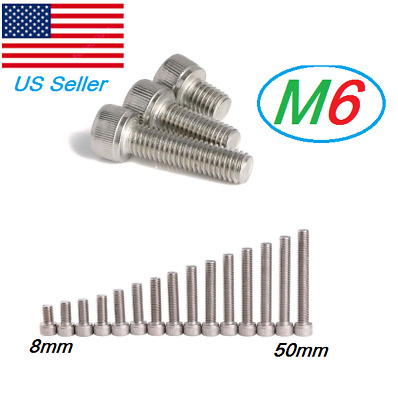 M6 Stainless Steel Metric Full Thread Allen Hex Socket Cap Head Screws Bolts