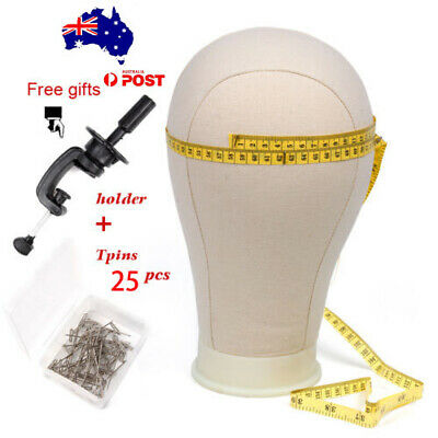 GEX Canvas Mannequin Cork Head Block Wig Stand Making Bottom Model Clamp T Pins