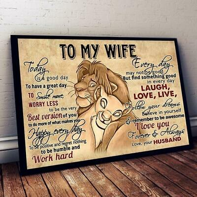 The Lion King To My Wife Laugh Love Live Horizontal Poster 12-48'' No Frame