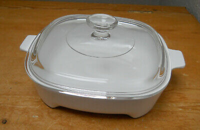 Microwave Browning Dish - Corning Ware Pyrex - Lidded - 21 x 21 cm Square -