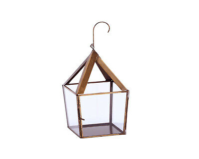Brass Antique Glass Lantern Candle/T light Holder Pyramid Shape  Hand Made S & L