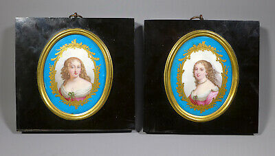 Rare Pair Of 19Th C. Hand Painted Sevres Porcelain Plaques Of French Noblewomen