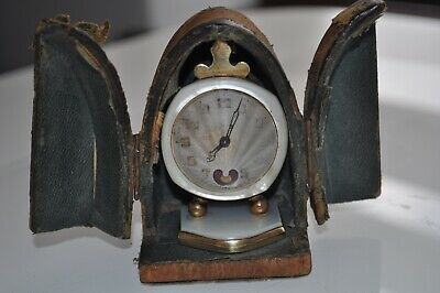 Antique Vintage Brevet Mother Of Pearl Travel Carriage Clock And Travelling Case