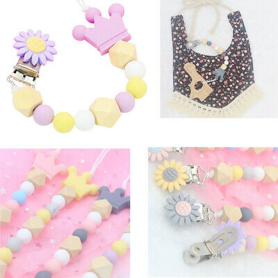 Baby Dummy Clips Teething Silicone Beads Soother Pacifier Chains Holder Strap UK