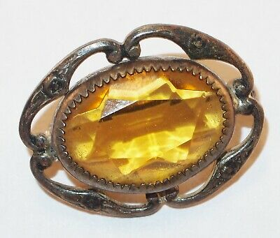 Antique Victorian Small Amber Glass Oval Raised Flowers Pretty Brooch Pin