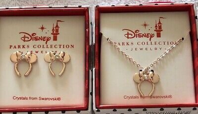 Disney Parks Minnie Mouse Headband Necklace And Pierced Earrings Rose Gold Tone