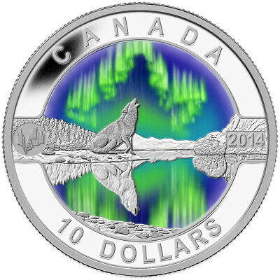 Northern Lights - 2014 O Canada Series $10 Fine Silver