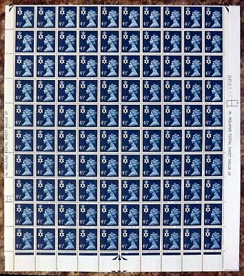 GB Northern Ireland Regional 4½p Complete Sheet of 200 Folded Once NR518