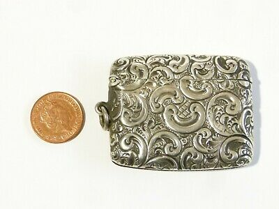 Antique Sterling Silver Vesta Case Match Safe Fob with AB or AS Repousse #V110