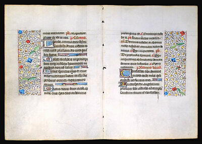 Medieval Illuminated Manuscript   Book Of Hours 2 Leaves Bifolium 1450, Gold